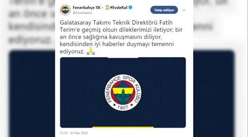 Fenerbahçe'den Fatih Terim'e geçmiş olsun - 23 Mart 2020 22:34