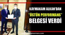 Kaymakam Alkan'dan Başkan Şayir'e teşekkür belgesi