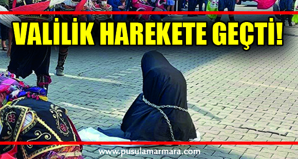 Çarşaflı kadının zincire vurulduğu gösteri hakkında soruşturma